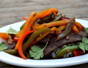 venison and peppers