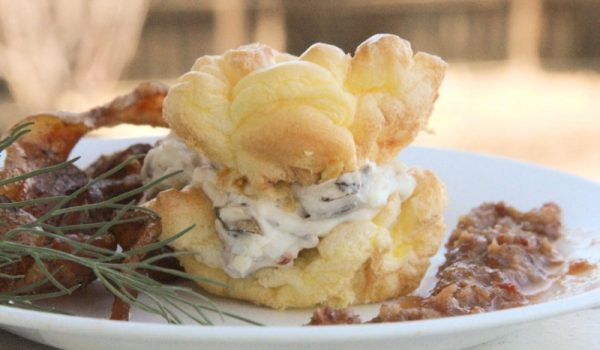 Cream Cheese Puff with Roasted Bacon Emulsion